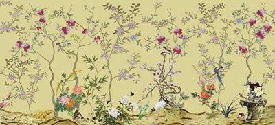 Asian mural style wallpaper